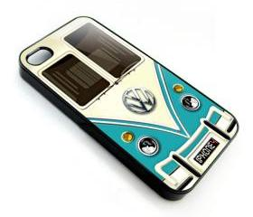 Blue Teal VW VOLKSWAGEN Camper kombi mini Van mini bus with chrome Logo apple iphone 4 4s case cover
