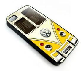 Yellow VW VOLKSWAGEN Camper kombi mini Van mini bus with chrome Logo apple iphone 4 4s case cover