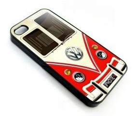 Red VW VOLKSWAGEN Camper kombi mini Van mini bus with chrome Logo apple iphone 4 4s case