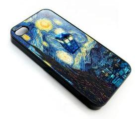 Cool Van gogh Tardis doctor who Starry night apple iphone 4 4s case cover