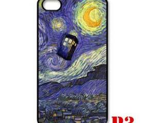Cool Van gogh Tardis doctor who fly Starry night apple iphone 4 4s case cover