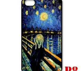 Cool Van gogh Tardis doctor who Screaming man apple iphone 4 4s case cover