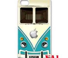 Blue Teal VW VOLKSWAGEN Camper kombi mini Van mini bus with apple Logo iphone 4 4s case cover