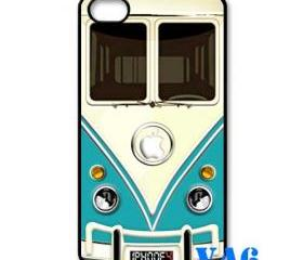 Blue Teal VW VOLKSWAGEN Camper kombi mini Van mini bus with circle apple Logo iphone 4 4s case cover