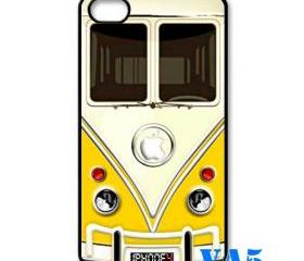 yellow VW VOLKSWAGEN Camper kombi mini Van mini bus with circle apple Logo iphone 4 4s case cover