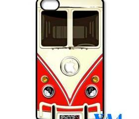 red VW VOLKSWAGEN Camper kombi mini Van mini bus with circle apple Logo iphone 4 4s case cover