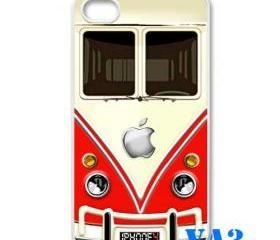 red VW VOLKSWAGEN Camper kombi mini Van mini bus with apple Logo iphone 4 4s case cover