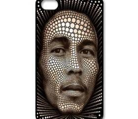 Raggae legend Bob Marley dot art painting apple iphone 4 4s case cover