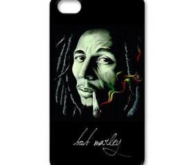 Raggae legend Bob Marley smoking art painting apple iphone 4 4s case cover