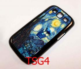 Retro Van Gogh Tardis Doctor who Starry Night Painting samsung galaxy s3 i9300 case cover