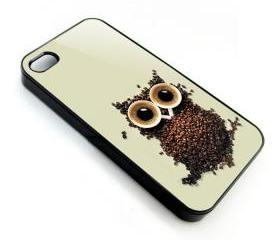Cute Owl and Coffee apple iphone 4 4s case